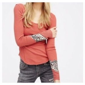 Free People Bandana Cuff Thermal Top - Red/Orange